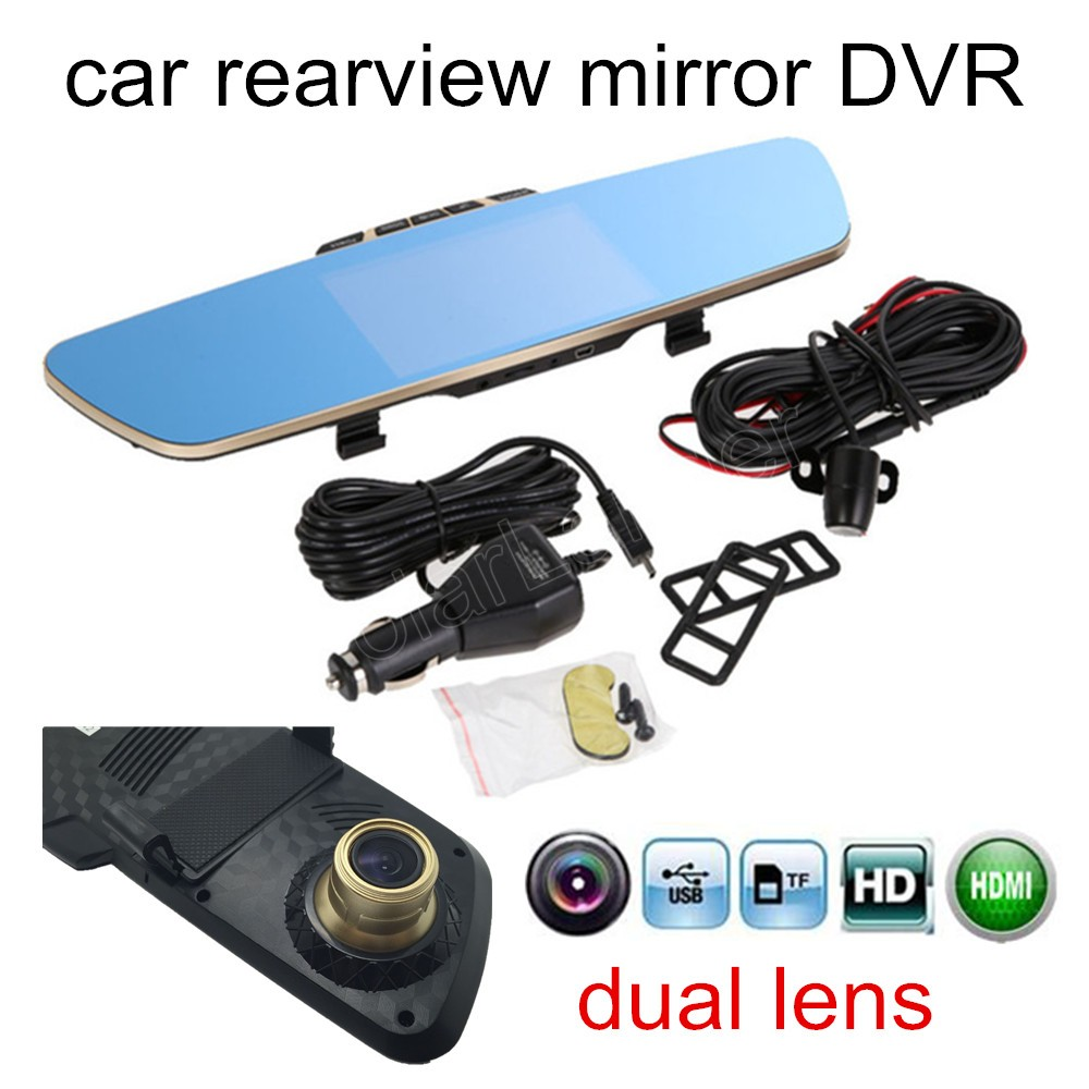 "High quality 5"" inch HD LCD Car Rearview Mirror 12V DVR camcorder auto dash cam video recorder dual lens two camera(China (Mainland))"