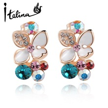 Italina Rigant 2014 Summer New Arrival 18k Rose Gold Plated Flower Drop Earring With Austrian Crystal Stellux #RG85063(China (Mainland))