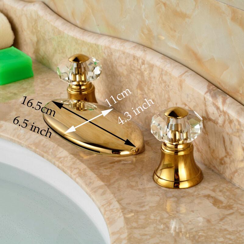 Купить Свет Широкое Палуба Крепление Водопад Бассейне Кран Раковины Двухместный Cristal Ручки Золотой Ванная Комната Смесители