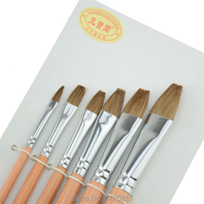 6 Flat horse hair brushes watercolor Gouache paint brush for artist