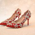 11women pumps red bridal shoes high heels wedding fashion shoes rhinestone thin heels formal dress shoes