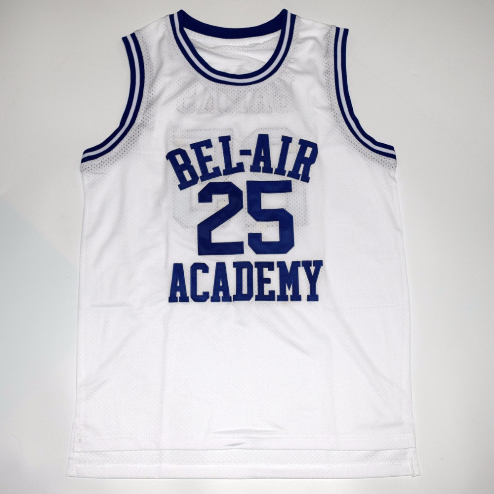 2016 New Banks Number 25 Bel-Air Academy Basketball Jersey Color White Good Quality Basketball Jersey For Free Shipping(China (Mainland))