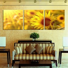 3 Piece Sunshine Sunflower Oil Painting On Canvas Print Large Living Room Decoration Modern Wall Pictures Factory Supplies New(China (Mainland))