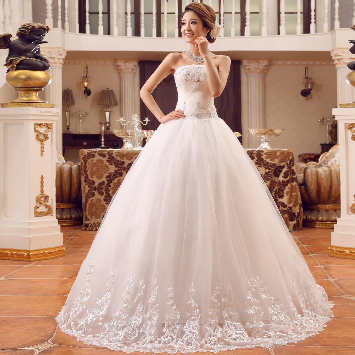 Princess Wedding Dress Big : Bow wedding dress big laciness princess formal