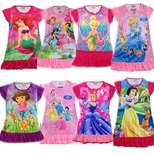 2014 new Princess girl's nightgown cartoon princess dress wholesale children's dresses size S M L XL to choose(China (Mainland))