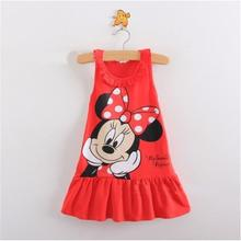 New 2016 summer children clothing girls cartoon dress sleeveless kids clothes girls princess dress size80-100(China (Mainland))