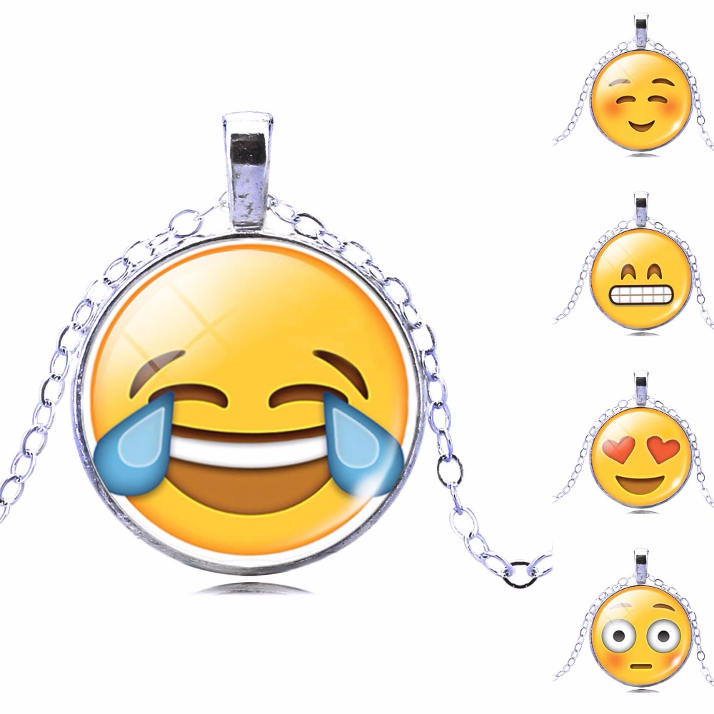 New Brand Jewelry 13 Style Silver Plated with Glass Cabochon Cute Emoji Pattern Choker Long Pendant Necklace for Women Gift(China (Mainland))