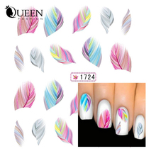 1sheet Colorful Feather Nail Art Water Transfer Stickers Fashion DIY Beauty Nail Tips Wraps Decoration