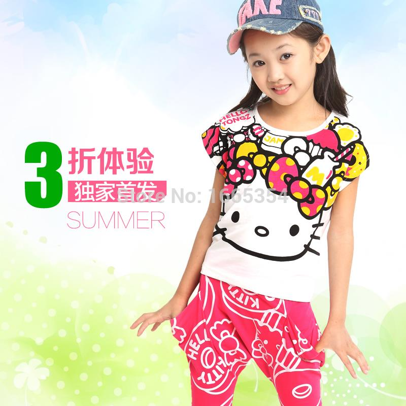 2015 new summer Girls clothing set Kids girls apparels Hello Kitty Clothing sets children Cartoon two pieces Clothing Sets(China (Mainland))