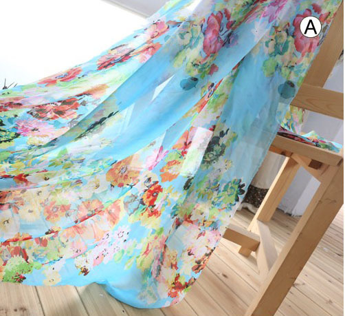 2015 Newest blue flowers design chiffon fabric for dress,shirt firm and breathable georgette fabric 150cm wide 2meters(China (Mainland))