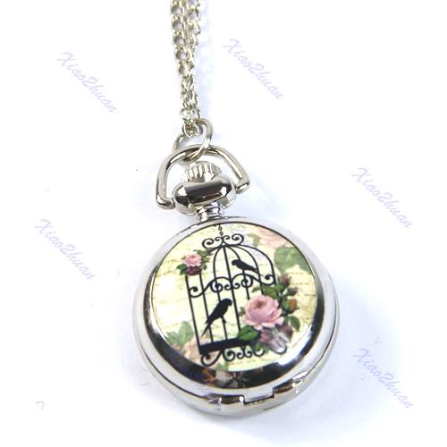 M89 2Pcs Lot Antique Vintage Bird Cage Rose Quartz Pocket Watch Pendant Necklace Chain Gift Free