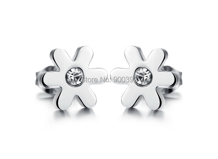 Fashion Cute Little DAISY Stud Earring Top Quality 316L Stainless Steel Cubic Zircon Earring 3GE279(China (Mainland))