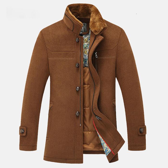 2015 Winter sobretudo Men with fur collar wool casaco coat woollen overcoat thinck jacket windbreaker(China (Mainland))