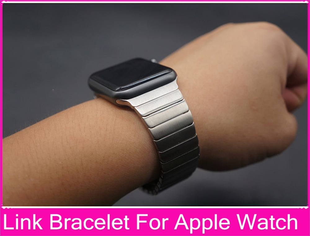 Luxury For Apple Watch Link Bracelet Band 42mm 38mm Black Silver Stainless Steel Original Banda For Iwatch Watchbands(China (Mainland))