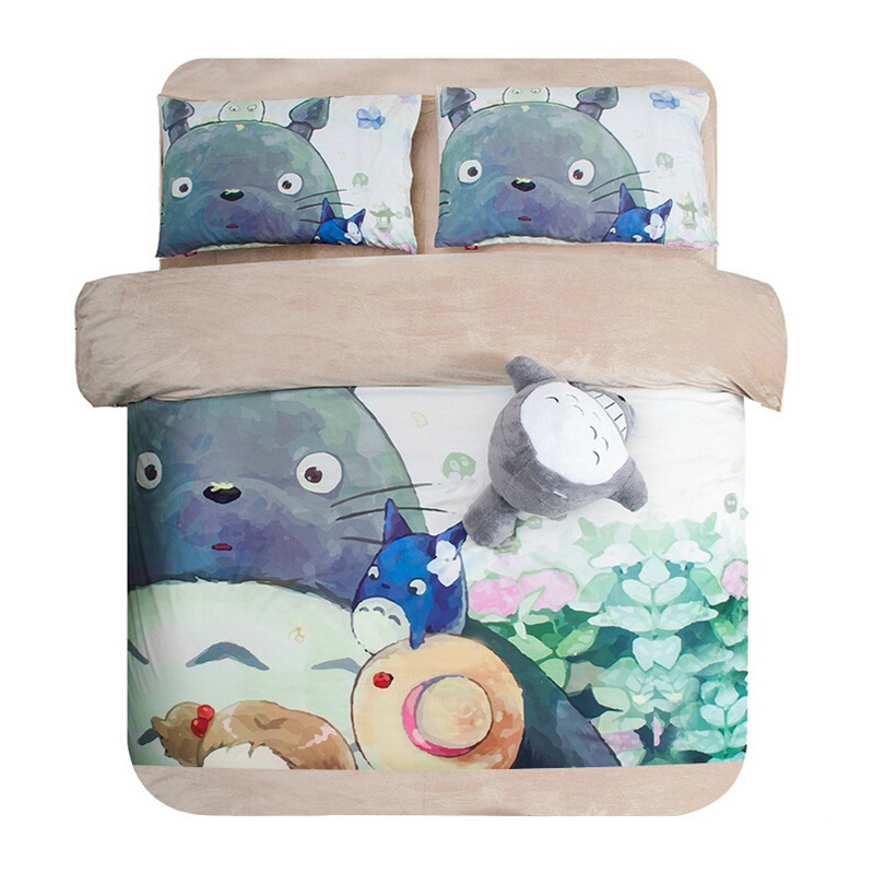 Coral Fleece Thick Bedding Sets 3D Reactive Printing Totoro and his kid Beds Bed Sheet Set Duvet Cover 3/4PC Beddings Set(China (Mainland))