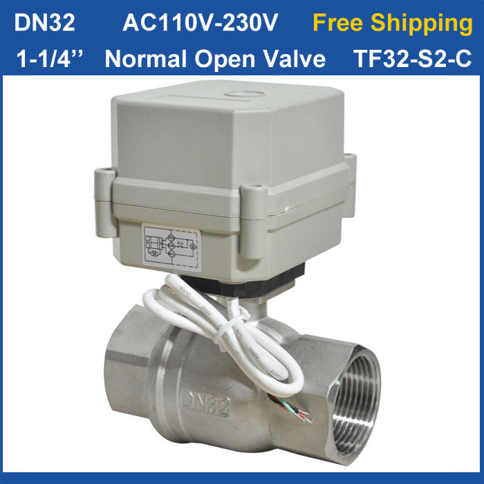 Free shipping DN32 AC110V-230V 2 wires TF32-S2-C 2-Way Stainless Steel 11/4'' Full Port Electric Normal Open Valve Torque 10Nm