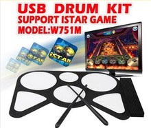 Free Shipping musical digital USB Roll-Up jazz Drum Kit - Cool Gadget Fold Electronic Drum Set for PC P2(China (Mainland))