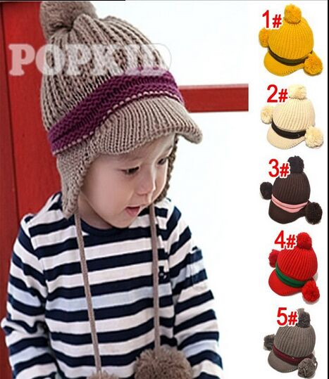2016 Hot Sale Baby Knitted Winter Hat Earflaps Bebes Warm Caps Mum Gorros 5 Colors For Choose Kids Bonnet(China (Mainland))