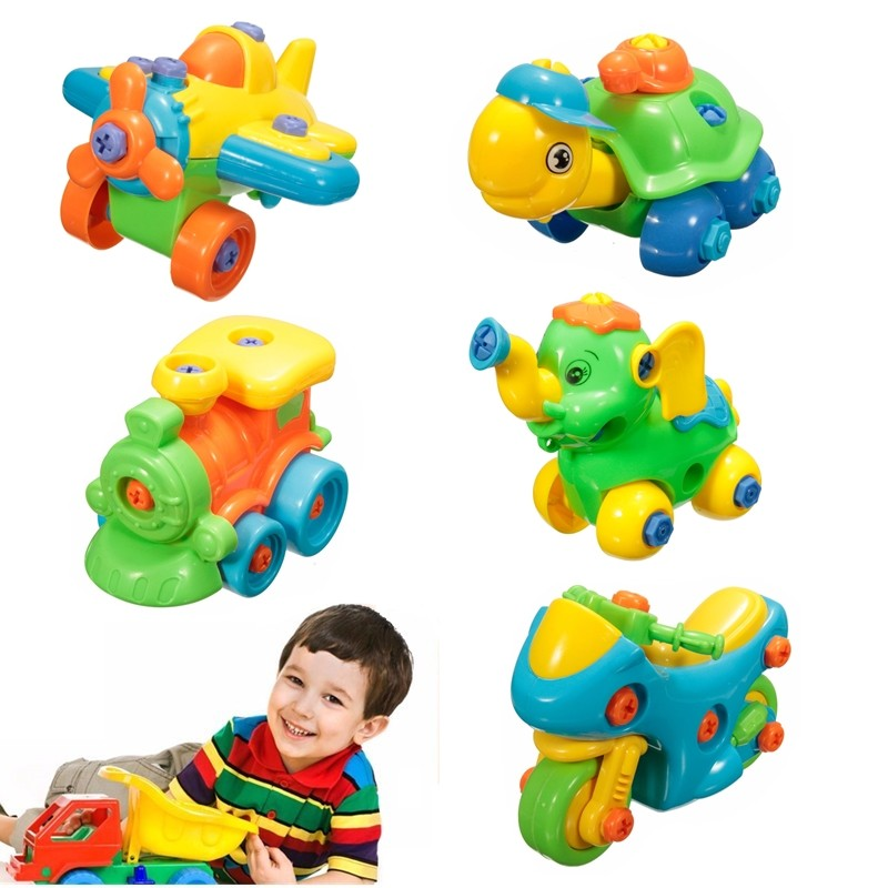Assembled Toys Jigsaw Building Develop Fun Build Train Kids Children's Educational Toy With Clamp Screwdriver Tool Learning Toys(China (Mainland))