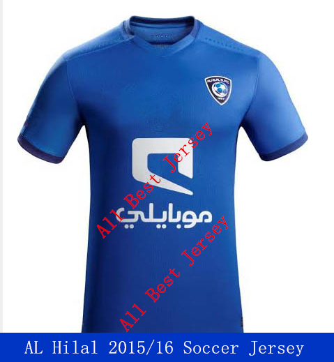 Free shipping Top Thai Quality 2015/16 Al Hilal home soccer Jersey, Saudi Arabia Soccer Jersey Al Hilal soccer shirt(China (Mainland))