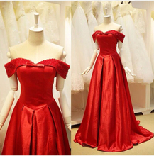 Stunning Red Long Evening Dresses Party Dresses 2015 Off the Shoulder with Beads Bow Satin Robe De Soiree Vestido Hot Sale(China (Mainland))