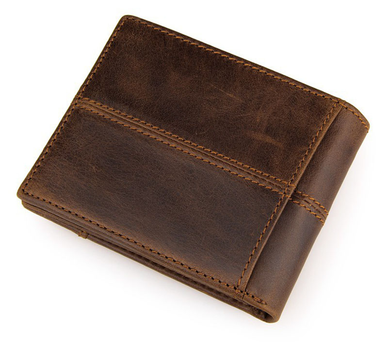 100% Top Quality Crazy Horse Genuine Cowhide Leather Men Short Wallets Vintage Splice Purse Dollar Price Carteira Masculina(China (Mainland))