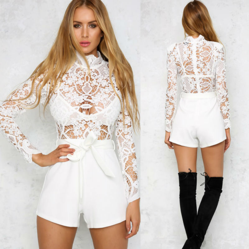 2016 New Summer Women Clothing Sexy White Hollow Out Crochet Lace Playsuit Bodysuit Jumpsuit Ladies Guipure Lace bodysuit romper(China (Mainland))