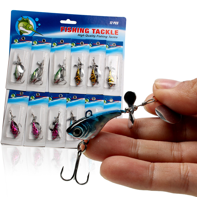 Sougayilang Spin Tail Blade Jig Fishing Lures Baits with 3D Eyes Steel Body for Saltwater Freshwater Fishing 12Pcs/Card(China (Mainland))