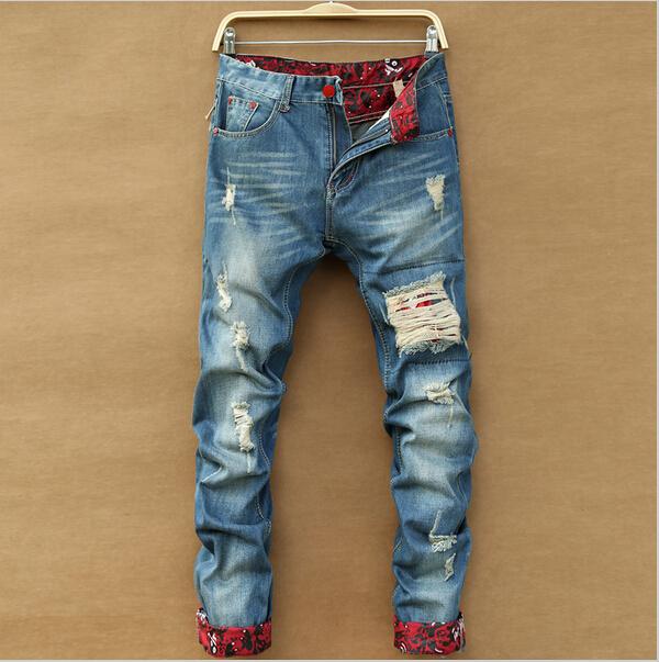 2015 new printed jeans men Leisure ripped men's casual Slim Straight tide printing beggar hole worn long denim pants - clothing club store