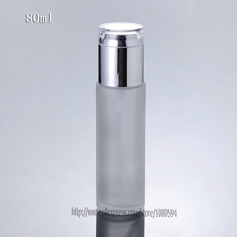 80ml frosted glass bottle in round/cylinder shape with silver press lotion/sprayer pump and clear cover cap,Glass lotion Bottle<br><br>Aliexpress