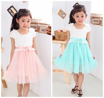 Summer girls shot sleeves patchwork dresses 3-10 year kids lace  grenadine dress