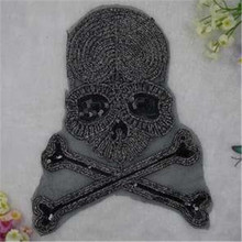 Sequins big black skull patches for clothing down coat, jacket men, men jeans, women jeans, t shirt, blusas, skirt, snapback(China (Mainland))