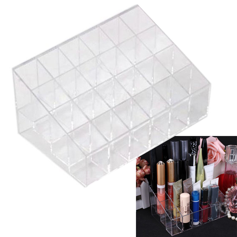 Clear Acrylic 24 Lipstick Holder Display Stand Cosmetic Storage Rack Organizer Makeup Make up Case Box Container 88(China (Mainland))