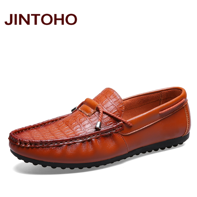 JINTOHO 2016 luxury brand loafers fashion glitter men's leather moccasin slip on loafers comfort driving shoes men's flats(China (Mainland))
