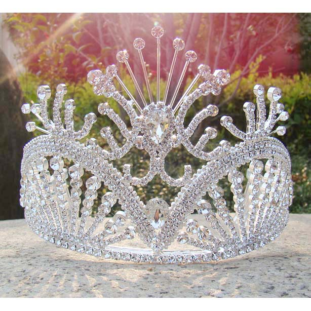 Free shipping large custom tiara tall pageant Queen tiara Rhinestone bridal tiara silver party girl's decoration crown tiara(China (Mainland))
