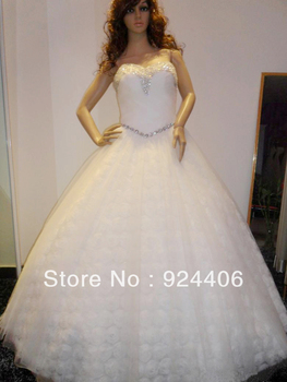 Free shipping,Customize,Wedding dress,Wedding gown.Ball Gown,Sweetheart,Floor length,Sequin,Rhinestone,Beaded,Flower,Net/Tulle