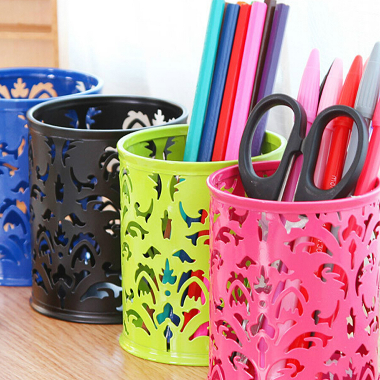 Pen Container Holders Hollow Circular Grid Pattern Desktop Stationery Iron Storage Bucket Decoration , Office & School Supplies(China (Mainland))