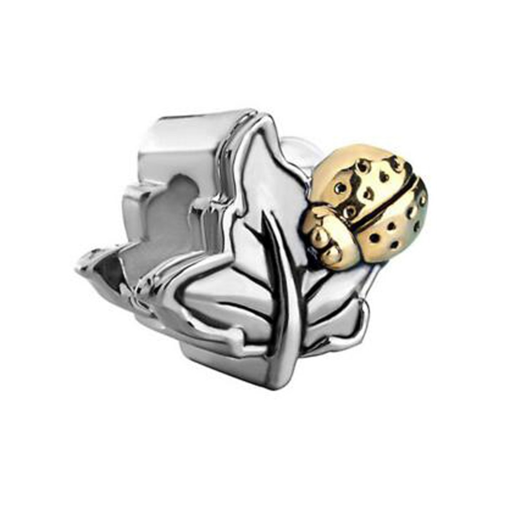 Free shipping Leaf Cute Ladybug European Infant Charm Bead fit Pandora charm bracelet(China (Mainland))