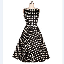 2016Summer Style office dresses Plus size black plaid Women Dress Audrey hepburn Vintage Rockabilly Runway Elegant Vestidos belt