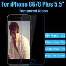 HD Optical Transmittance&Top Quality Tempered Glass Screen Protector Film Free Shipping 100pcs/lot For iPhone 6G & 6G Plus 5.5""