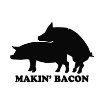 Wholesale 40 pcs/lot Making Bacon Pig Funny Car Sticker For Truck Window Bumper Door Vinyl Decal 8 Colors(China (Mainland))