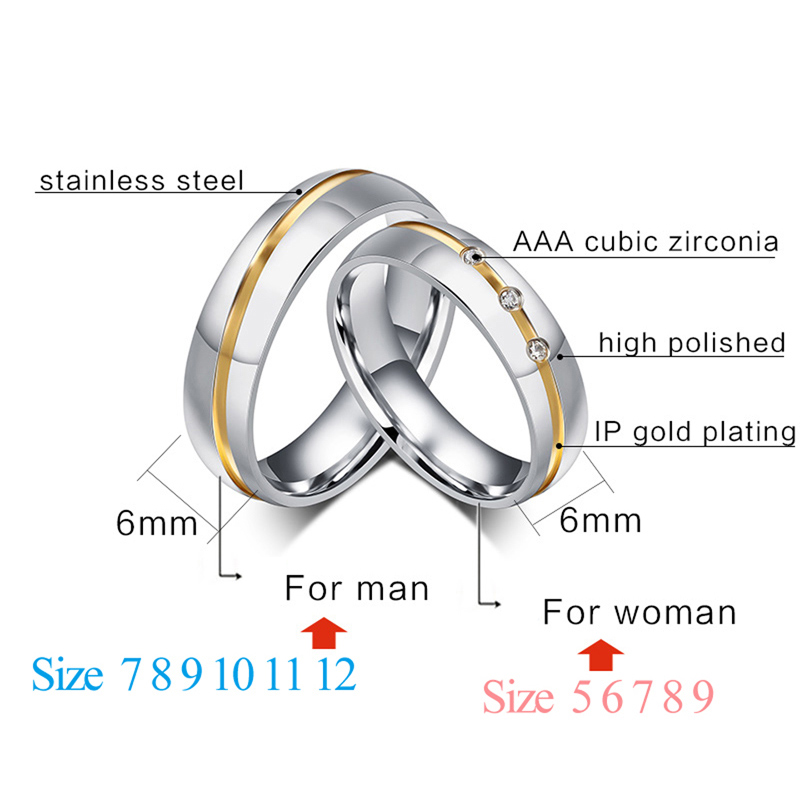 Vnox 2016 Fashion Wedding Rings for Women / Men Jewelry Gold Plated Stainless Steel aneis