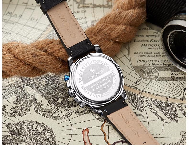 LONGBO Бренд Водонепроницаемые Спортивные Часы Мода Мужчины Geniune Кожа Военные Часы Кварцевые Авто Дата Наручные Часы Relogio Masculino