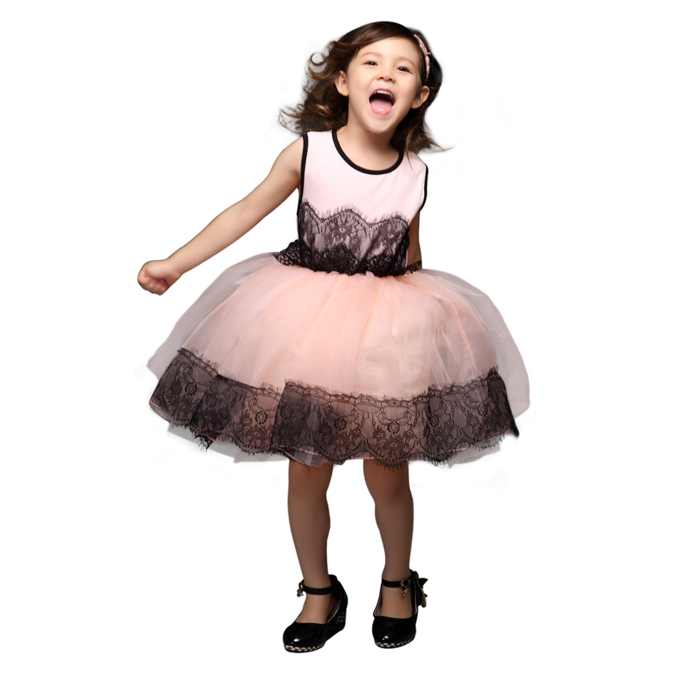 Pettigirl 2015 Girl Dress Dream Pink girls Lace with Black Guaze Kids Clothes Children's Dresses Kids Wear Kids Clothing Dress(China (Mainland))