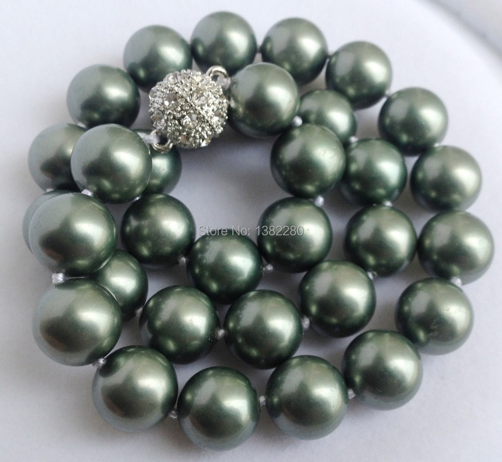 Free shipping!fashion DIY jewelry AAA 12mm Army Green South Shell Pearl Round Beads Necklace Magnet Clasp JT5697(China (Mainland))