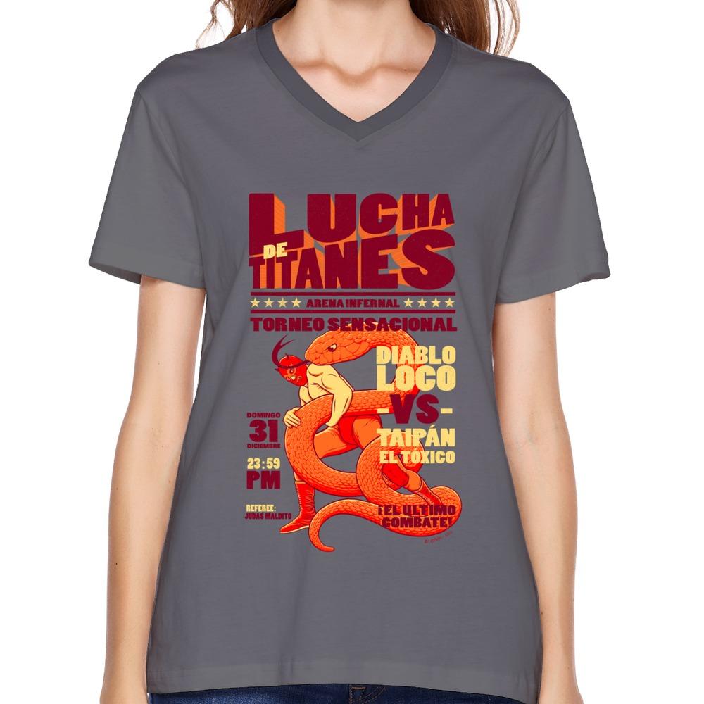 Women 39 s t shirt v neck lucha de titanes custom your own v for Custom t shirts for women