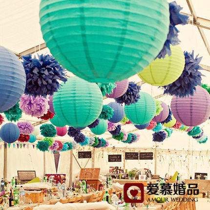 Hot Sale 12 Inch 30cm 28 Colors Beautiful Chinese Paper Lanterns For Birthday Party and Wedding Decoration Hanging Paper Ball(China (Mainland))