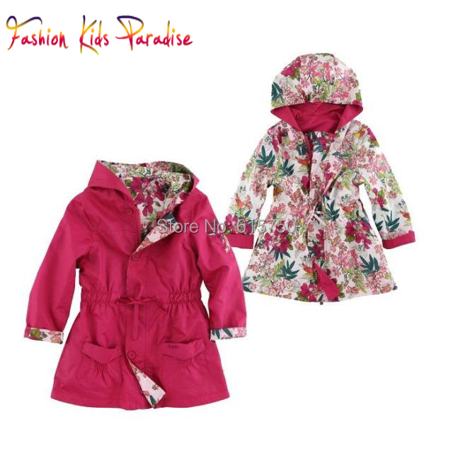 Children Outerwear & Coats Girls Jackets 2Sides Wear Hooded Windbreaker Kids Jacket 2015 Autumn Winter Brand Girls Coat Outwear(China (Mainland))