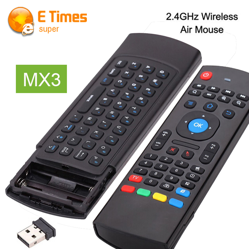 MX3 2.4GHz Keyboard Remote Control Qwerty Wireless Keyboard+ Air Fly Mouse + IR Remote Control 3 IN 1 For Kodi Android TV Box PC(China (Mainland))