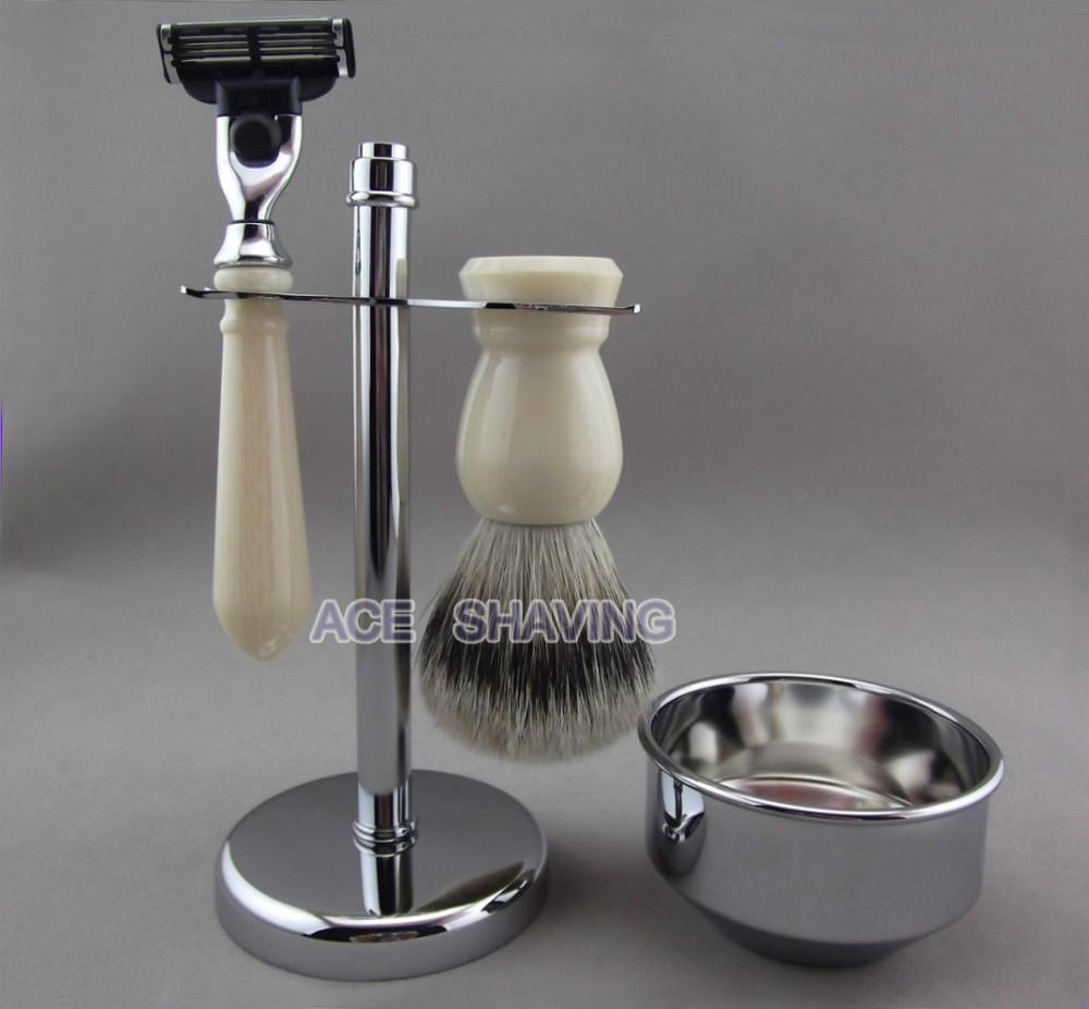 Здесь можно купить  Faux Ivory Handle Silvertip Badger Hair Brush Razor Stainless Stand Bowl Shaving Kit   Красота и здоровье
